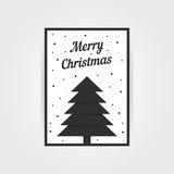 Gothic christmas card with black xmas tree. Concept of traditional, header, decorative ornate, event party, grim. isolated on gray background. flat style trend Royalty Free Stock Image