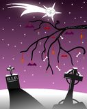 Gothic christmas greeting card with tombstones Stock Photography