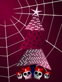 Gothic christmas greeting card tree and cobweb. Original version of the Christmas theme. Instead of the classic tree decorated for the holiday, we have tree tree Stock Images