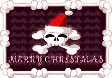 Gothic christmas greeting card with skull stock image
