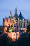 Gothic church. St Barbora in Kutna Hora at night lighting Royalty Free Stock Image
