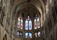 Gothic church. Medieval church with stained glass windows Royalty Free Stock Images