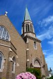 Gothic Church in Bellingham, WA. With blue sky and wispy clouds Stock Photo