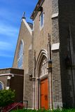 Gothic Church in Bellingham, WA. With blue sky and wispy clouds Stock Image