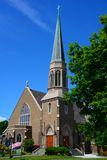Gothic Church in Bellingham, WA. With blue sky and wispy clouds Royalty Free Stock Photos