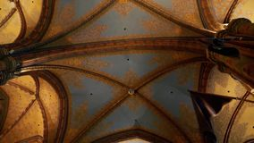 Gothic architecture style on church`s ceiling. Gothic Church Ceiling, gothic elements on the cathedral`s ceiling stock footage