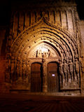 Gothic church door at night Stock Image