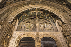 Gothic church. Facade of the cathedral of Aranda de Duero (Spain) at night Royalty Free Stock Photography