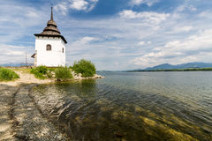 Gothic church Havranok at Lake Liptovska Mara, Slovakia royalty free stock photography