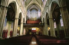 Gothic church interior. With organ stock photography