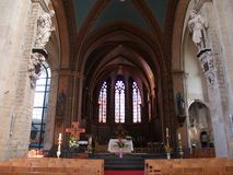 Gothic church interior. Interior of the Gothic Kapellekerk (church) in Brussels downtown stock photography