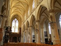 Gothic church interior. Interior of the Gothic Kapellekerk (church) in Brussels downtown royalty free stock photography