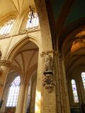 Gothic church interior detail. Detail of interior of the Gothic Kapellekerk (church) in Brussels downtown royalty free stock photos