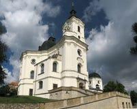 Gothic church Krtiny stock photography
