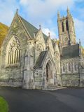 The Gothic Church at Kylemore Abbey. Along the shores of Lough Pollacapull the neo-Gothic Church has been described as a 'Cathederal in Miniature Royalty Free Stock Photo