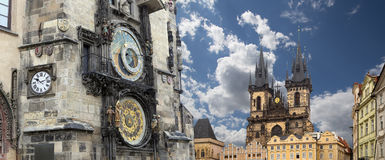Gothic Church of Mother of God in front of Tyn and Astronomical clock in Old Town Square, Prague, Czech Republic Stock Photography