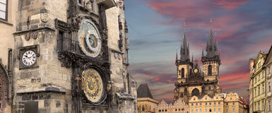 Gothic Church of Mother of God in front of Tyn and Astronomical clock in Old Town Square, Prague, Czech Republic Stock Photos