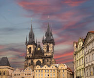 Gothic Church of Mother of God in front of Tyn in Old Town Square in Prague, Czech Republic Stock Image