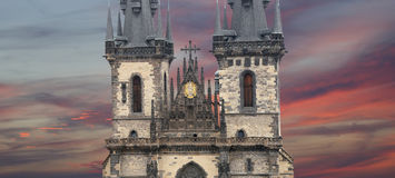 Gothic Church of Mother of God in front of Tyn in Old Town Square in Prague, Czech Republic Stock Photos