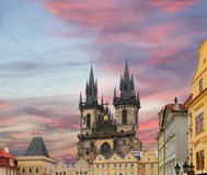 The gothic Church of Mother of God in front of Tyn in Old Town Square in Prague, Czech Republic Stock Image