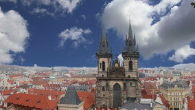 The gothic Church of Mother of God in front of Tyn in Old Town Square in Prague, Czech Republic.  stock footage