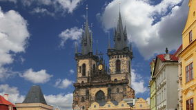 The gothic Church of Mother of God in front of Tyn in Old Town Square in Prague, Czech Republic stock video