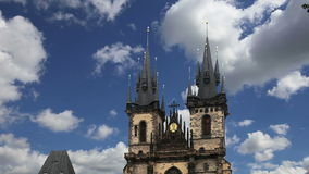 The gothic Church of Mother of God in front of Tyn in Old Town Square in Prague, Czech Republic stock footage