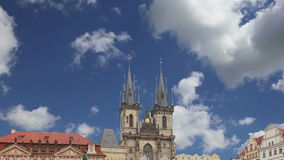 The gothic Church of Mother of God in front of Tyn in Old Town Square in Prague, Czech Republic stock video footage