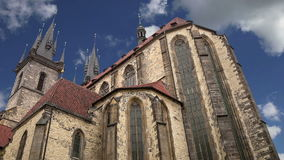 The gothic Church of Mother of God in front of Tyn in Old Town Square in Prague, Czech Republic.  stock video