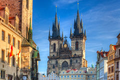 The gothic Church of Mother of God in front of Tyn Stock Images