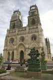 Gothic church orleans france. Gothic cathedral church orleans france exterior with water fountain Royalty Free Stock Images