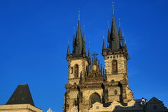 The gothic Church of Our Lady before Týn on Old Town Square,Old Buildings, Prague, Czech Republic Royalty Free Stock Photography