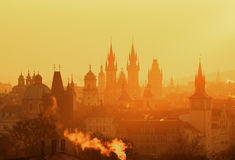 The Gothic church of Our Lady before Tyn during amazing sunrise. Prague, Czech republic Royalty Free Stock Image