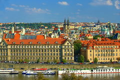 The gothic Church of Our Lady before Tyn, Panorama of the Old Town, Prague, Czech Republic Stock Photo