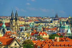 The gothic Church of Our Lady before Tyn, Panorama of the Old Town, Prague, Czech Republic Stock Image