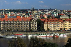 The gothic Church of Our Lady before Tyn, Panorama of the Old Town, Prague, Czech Republic Stock Images