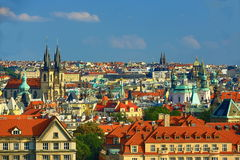The gothic Church of Our Lady before Tyn, Panorama of the Old Town, Prague, Czech Republic Royalty Free Stock Images