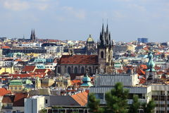 The Gothic Church of Our Lady before Tyn, Panorama of the Prague, old Town, Prague, Czech republic Stock Photography
