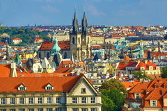 The Gothic Church of Our Lady before Tyn, Panorama of the Prague, old Town, Prague, Czech republic Royalty Free Stock Photography