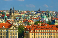 The Gothic Church of Our Lady before Tyn, Panorama of the Prague, old Town, Prague, Czech republic Royalty Free Stock Photos