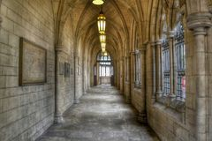 Gothic church passageway Stock Images