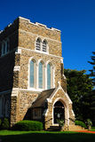 Gothic Church. St. Luke`s Church in East Hampton, Long Island was built in a neo-gothic style Stock Photo