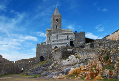 Gothic church of St Peter on a high rock in Porto Venere, Italy Stock Photography