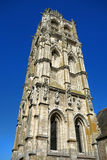 Gothic Church Stone Tower Steeple over Blue Sky Stock Photos