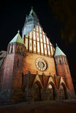 Gothic church with tower in Poznan by night Royalty Free Stock Image