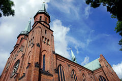 Gothic church towers in Pruszkow. Poland stock photo