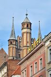 Gothic church towers in Torun, Poland. Royalty Free Stock Images