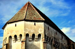 Gothic church in Transylvania. Here is the magificent gothic exterior of the evanghelical church in Boz village, Romania Royalty Free Stock Images