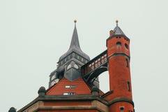 Church and sky. Gothic churche, ansient churche, red churche, brick churck, gothic temple, ansient temple, red temple, brick temple. temple and sky royalty free stock photo
