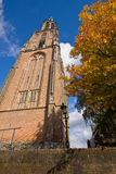 Gothic churchtower without a church next to it stock photos
